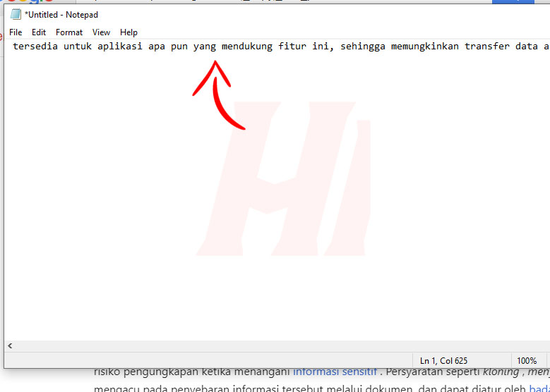 Paste Teks Dari Internet ke Notepad