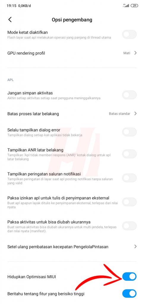 Nonaktifkan Optimisasi MIUI