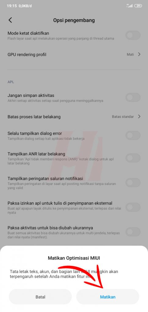 Matikan Optimisasi MIUI