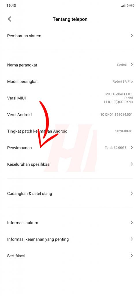 Penyimpanan Telepon Android