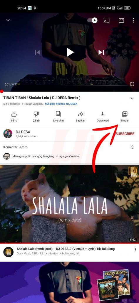 Repeat Video YouTube di Android